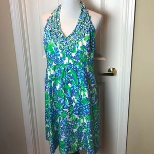 Lilly Pulitzer   halter dress, blue/greens, Sz 14